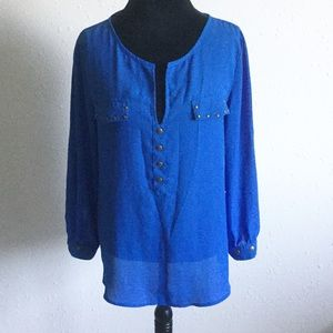 Ms. Bella D Blue Tab Sleeve Blouse